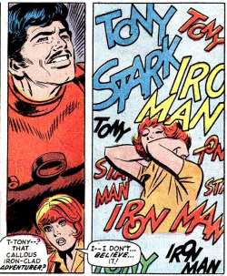 Iron Man #65, December 1973. Art by George Tuska and Mike Esposito; Words by Mike Friedrich; Lettering by Artie Simek; Coloring by George Roussos.