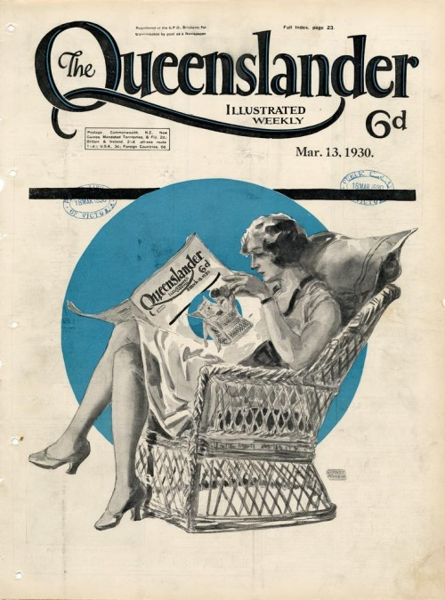 Illustrated front cover from The Queenslander, March 13, 1930 Artist: Garnet (Garnet Gerald) Agnew (1886-1951) (from State Library of Queensland Flickr)