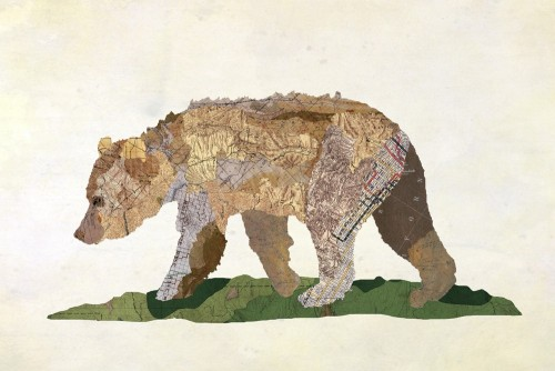 Jason LaFerrera's animal collages made from old maps