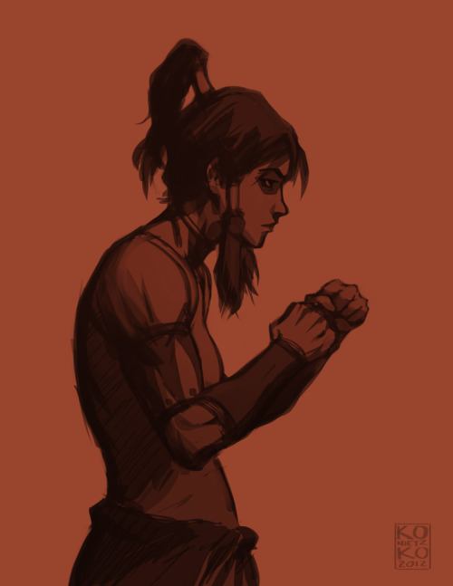bryankonietzko:  DUKES UP EDIT: I caught a note that pointed out this pose isn't good form for fighting. You are correct, sir/madam/other! You wouldn't want to be this square to your opponent, unless perhaps you were trying to draw he/she/other in to engage. This started as a study from a photo of a female fighter in a pre-fight staredown pose, where the only criteria is looking like a badass.  i just love this. and i love bryan konietzko <3