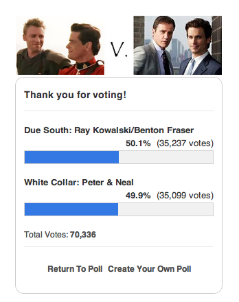 OMG YOU GUYS!!! Just the other day, Fraser/RayK had something like 34% of the vote in AfterElton's Ultimate Slash Madness Tourney, and I honestly thought they had no chance at all. BUT NOW THEY HAVE PULLED AHEAD AND IT IS AMAZING. Idk how it happened but I am delighted :D :D :D