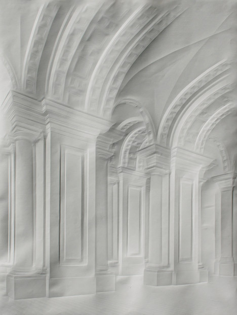 pubertad:  Simon Schubert creates intricate images of stately homes and palaces simply by folding plain white sheets of paper.