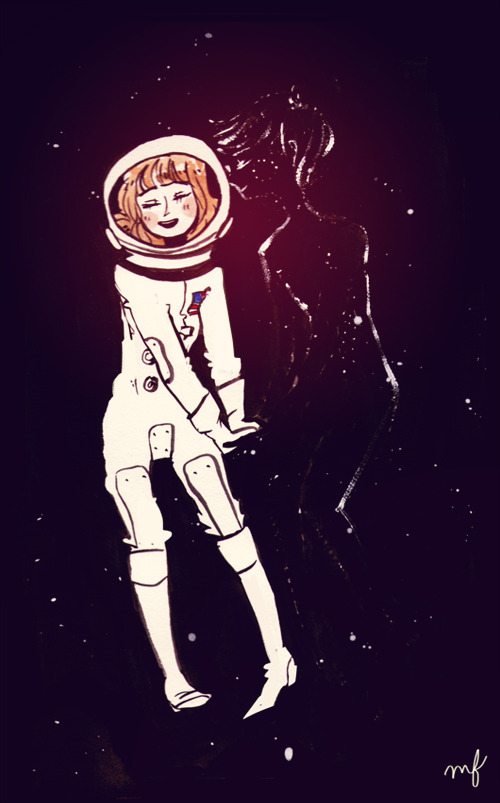 harps-and-robins:  The girl who loved space, and was loved back. Thanks instagram for inspiring the colors/effects hahah