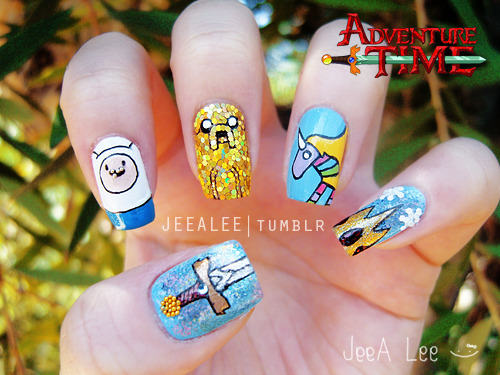 jeealee:  Adventure Time Nails  These are AWESOME.