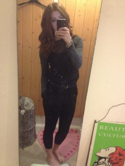 What I wore today Topshop black button up trousers,h&m jersey and chiffon raglan sleeve top, black an silver thin belt,black converse