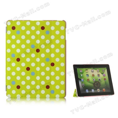 iPad smart cover leather case polka dot style