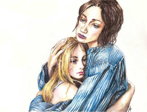 Katniss and Primrose Everdeen, watercolours