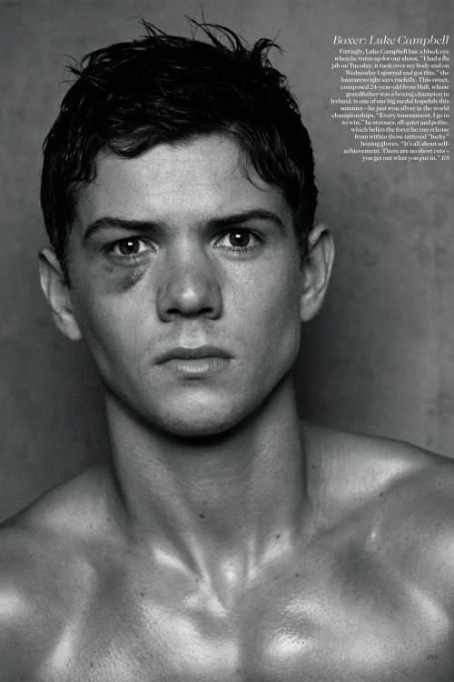 Boxer Luke Campbell shot for the June 2012 issue by Peter Lindbergh.