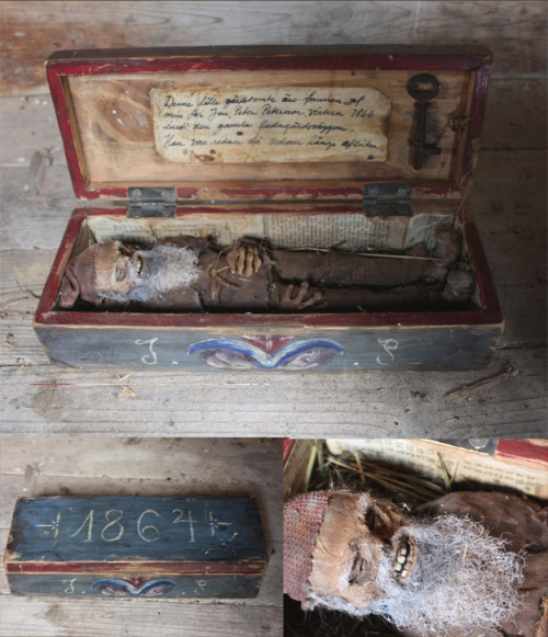 "raysandor:  thegentlemanghost:  deadlyart:  The naturally mummified body of a Swedish ""hustomte"" or housegnome. They where said to be secret caretakers of the farms in scandinavia and would help with the farmer as long as he didn't do anything to upset the gnome, then he would get really nasty, throwing curses and killing lifestock.the text inside the box translates: This little house gnome was found by my father Jan Peter Petersson in the winter of 1866 inside the wall of the old barn , he was already long since dead. Everything is built by me from scrach including the box. i really enjoyed making something that was based in the culture of my home-country.~WunderDark  Ssssooooooo metal This may be the coolest thing I have ever seen - I totally believe!  um wut"