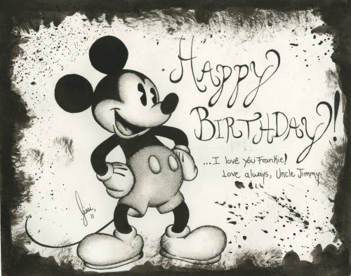 Birthday Card I made for my niece last year, she loves Mickey Mouse… a bit silly perhaps, but I came across this and thought I'd post it.  Note: Mickey Mouse is a Disney trademarked character that I DO NOT own any rights to, this was not a commissioned piece and not drawn for any sort of payment or compensation, this is simply fan art.