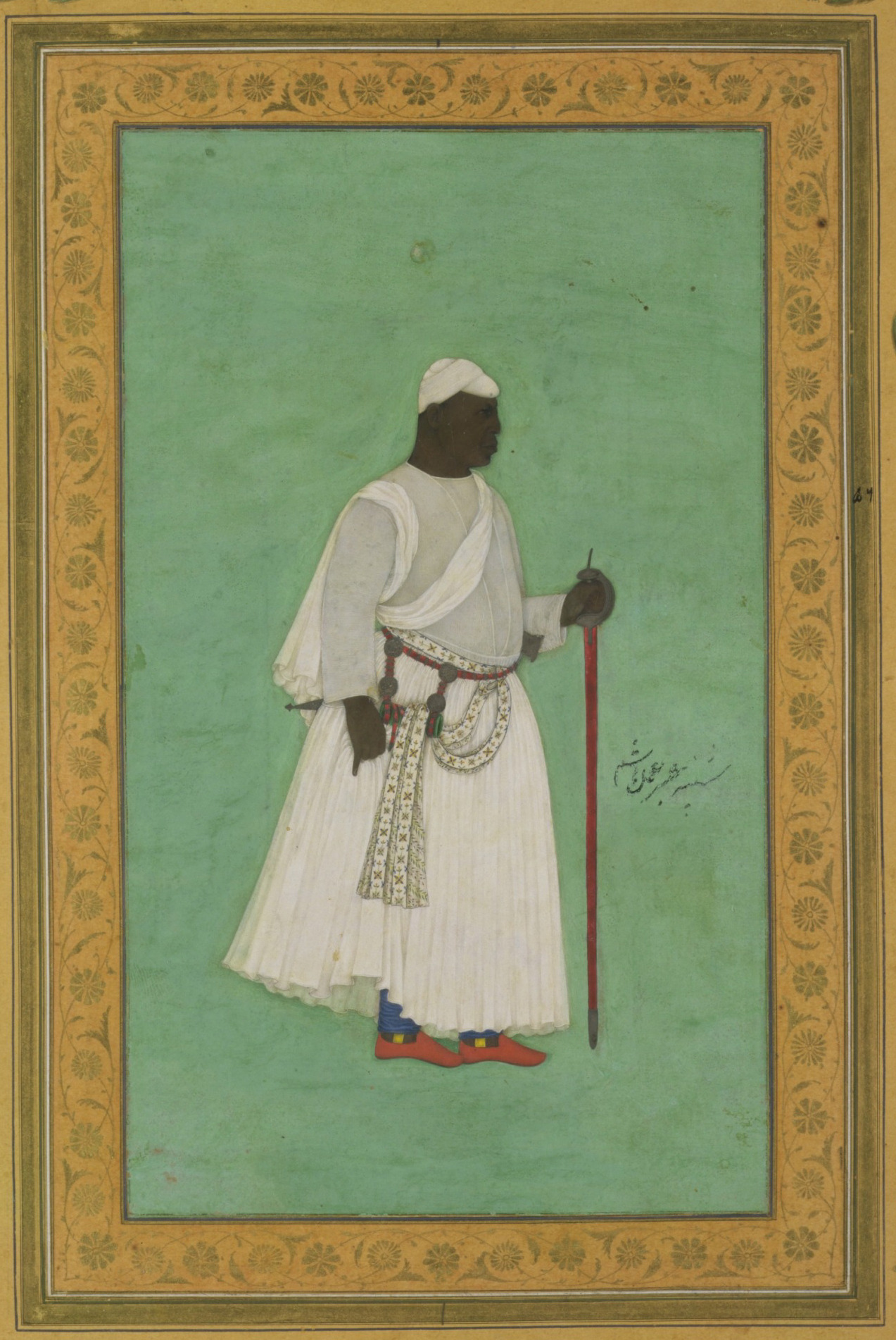 Malik Ambar was born in Ethopia in 1548 with the name Chapu and was sold into slavery. He was eventually bought by a leading member of the Nizam Shahi court of Ahmadnagar, one of the fragile sultanates of the Deccan. The slave became a soldier, and eventually a commander of the Nizam Shahi army, leading it against the Mughal army of the emperor Akbar. By 1600 he had become Regent of the Kingdom, effectively ruling Ahmadnagar until his death in 1626. His army scored significant victories against the Mughals during the reign of Jahangir. The Mughal army was led by Jahangir's son, Shah Jahan, who rebelled against his father in 1624 and sought support from his former enemy. It is likely that Hashim was sent with Shah Jahan's envoy and painted this naturalistic portrait after seeing the subject at first hand.