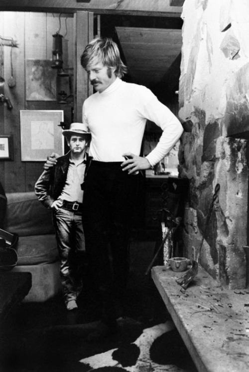 Robert Redford (the Sundance Kid), with a cardboard cut-out of Paul Newman (Butch Cassidy), Utah, 1969.