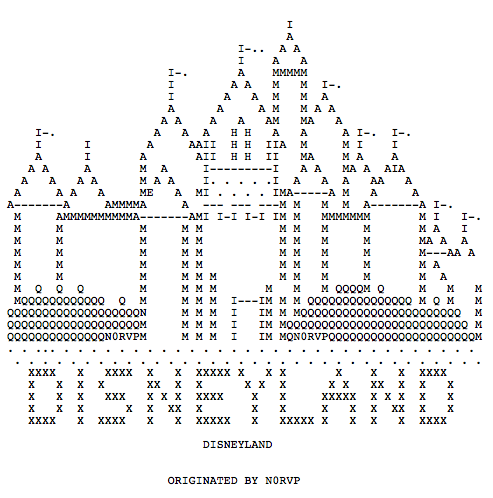Radioteletype Disney art by N0RVP. More radio text art here.