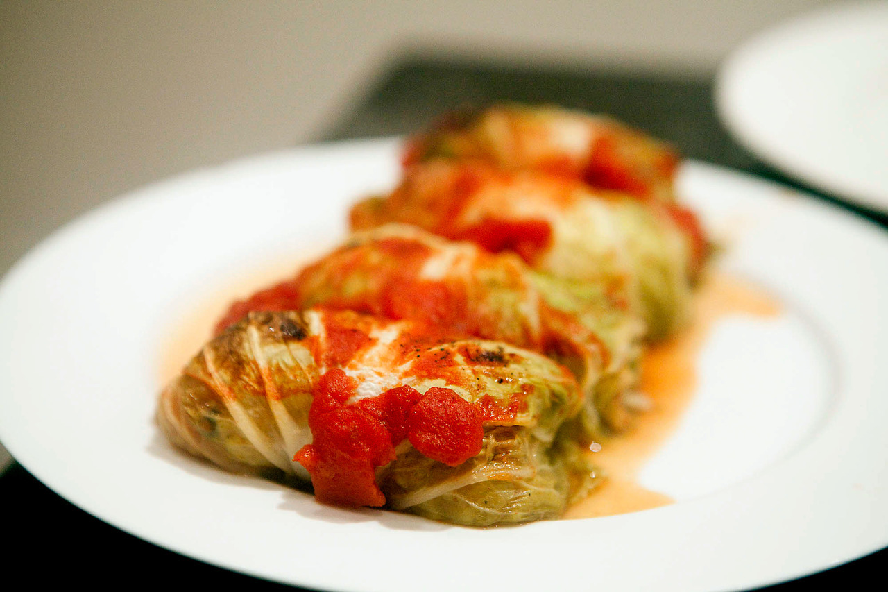 Slavic Cabbage Rolls With a bit of extra spice, this is a beautiful recipe.  I suspected it would be dull and flavorless but it was delicious and easy to make ahead.  You could do it with all sorts of fillings as well once you get the hang of wrapping it.