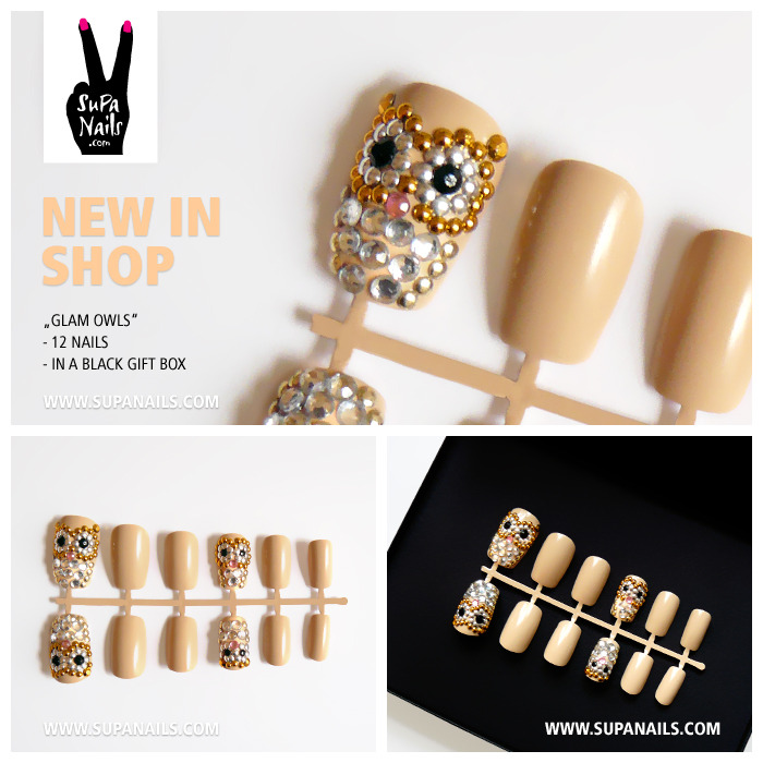"Supa Nails ""Glam Owls"" New in Shop 12 glamorous nude/beige owl nails with gold, silver, crystal and black rhinestones - Set of 12 artificial designer nails - comes in a black gift box www.supanails.com/shop"