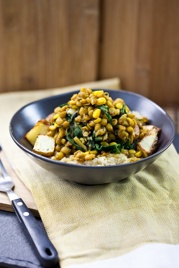(via » Curried Lentils, Corn, & Chard with Roasted Potatoes Keepin' It Kind)