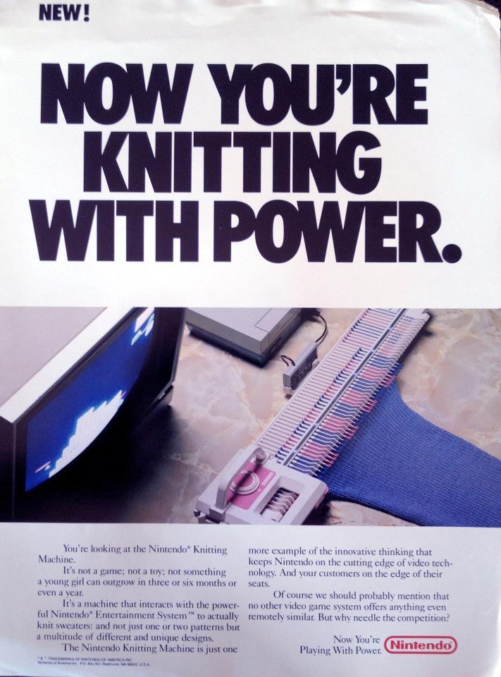 The Nintendo Knitting Machine, rumored to have been shown at a late '80s Consumer Electronics Show for years, finally revealed here in this brochure posted online last night by former Nintendo spokesman Howard Phillips (of Howard & Nester fame). I would have knitted some crazy garments with this dang thing — Mega Man socks, Teenage Mutant Ninja mittens, swag sweaters with my face on them, etc. [Via Gamemaster Howard]