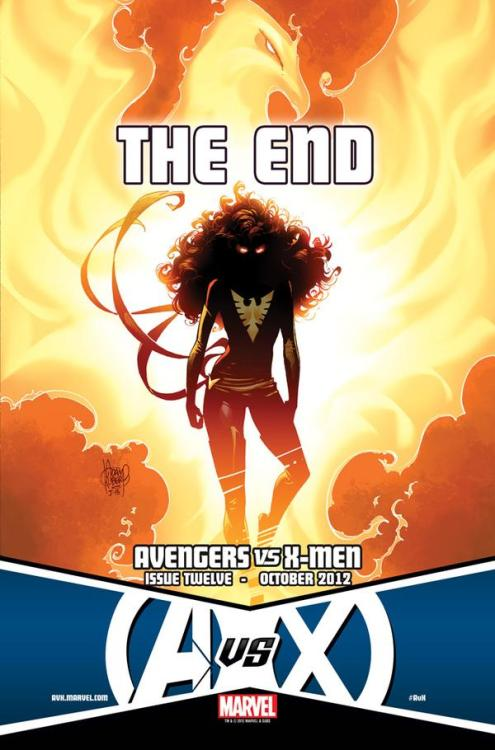 """The End"" of AVENGERS VS. X-MEN is Coming As Marvel forced us to wait for the ninth issue of AVENGERS VS. X-MEN, we can't help but wonder how the heck this big fight is going to end? Throughout the series, there have been some big developments but it's been more about the fighting. In order to end this war between the two teams and to (most likely) usher in the Marvel NOW! era, something really big has to happen to end this series. Marvel has released a teaser today for 'The End.' While the silhouette looks familiar, it's likely not who some of us have been hoping for. The biggest comic event of the year comes to its Universe shattering conclusion in Avengers VS. X-Men #12 this October.Here comes the pain as all your favorite super heroes enter the battle—and only one team will emerge victorious! Don't miss out on this once in a lifetime comic event in, Avengers VS. X-Men #12, on sale October 3rd in comic shops everywhere, on the Marvel Comics app, and the all-new Marvel Comics Webstore! AVENGERS VS. X-MEN #12 (JUL120535) Written by JASON AARON Penciled by ADAM KUBERT Cover by JIM CHEUNG FOC – 9/10/12, ON SALE – 10/3/12 How do you think it's all going to end? (via ""The End"" of AVENGERS VS. X-MEN is Coming - Comic Vine) Follow my blog for more comic, movie, music, sports, and entertainment news.  NewImageWorks.Tumblr.Com"