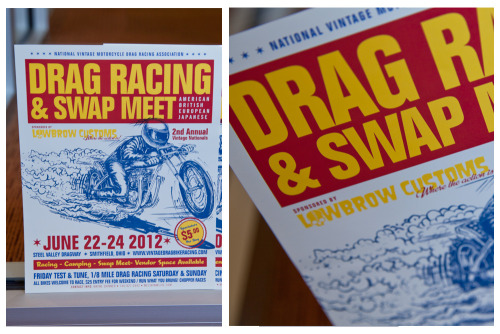 "Awesome illustration on this Flyer for a Vintage Motorcycle Meet for Lowbrow Customs.    Product: Flyers  Stock: 100# Gloss Text Size: 8.5 x 11"" Inks: Full Color"