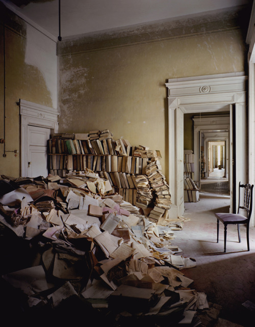 "nextartspaceartist:  ""Books Napoli was taken in an abandoned Palazza in Italy… every room was beautiful but this forgotten 'library' added an extra surreal quality. The fact that the books had blocked off a doorway but that this was counter-balanced by the light through the other door also added a wonderful balance."" - Barry Cawston. Learn more about the artist HERE.  TO GET THIS ARTIST TO THE NEXT ROUND, LIKE OR REBLOG THIS POST! (Pass the word onto all of your friends by tweeting the link and #NEXTArtspaceArtist.)"