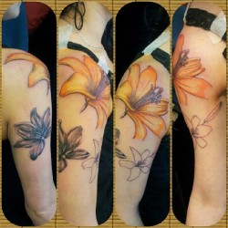 Just started today. #tattoo #ink #arm #girl #flowers #lily #cute #colour #blackngrey #hot #sexy  (Taken with Instagram at Alternative Ink)