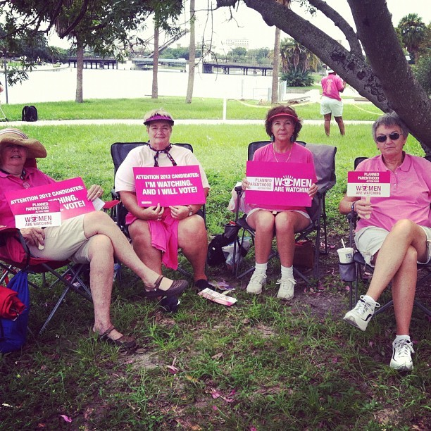 jacqueline-ppaf:  These are some fierce grandmothers who are watching. #ridewithPP (Taken with Instagram at Tampa Bus Stop)  It wouldn't be a trip to Florida without a few sun hats and visors!