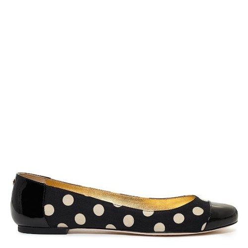 "dreamstorm:      (via kate spade | hailey too)   our classic shell-toe ballets are dressed up with a dash of polka dots, making them the sweetest go-to pair of the season.        black dot fabric with black patent leather and a stack heel    0.5"" heel    made in brazil    item comes pre-boxed    style # s156986    $228"