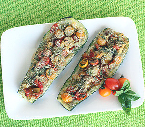 findvegan:  Bruschetta Stuffed Zucchini
