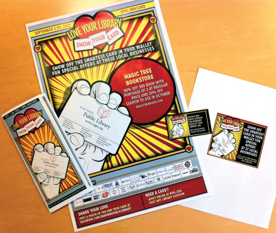 (Mostly) complete package–poster, brochure, newspaper ad, and business card– for the library's promotion celebrating National Library Card Sign Up Month.