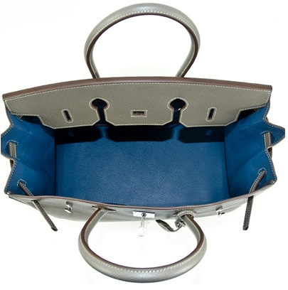 Let's Get Excited! The Blue de prusse interior of this Hermes Birkin Candy Bicolor Epsom Leather handbag is so lovable. It's electrifying!
