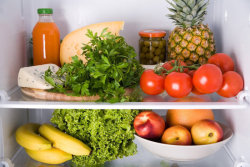 solidindecision:   13 TRICKS AND TIPS FOR KEEPING PRODUCE FRESH LONGER  Some fruits and veggies produce a gas called ethylene as they ripen. This gas can prematurely ripen foods that are sensitive to it, so keep ethylene-producing foods away from ethylene-sensitive foods. Avocados, bananas, cantaloupes, kiwis, mangoes, nectarines, pears, plums, and tomatoes, for example, should be stored in a different place than your apples, broccoli, carrots, leafy greens, and watermelon. Get a longer list of fruits to store separately here. Keep potatoes, onions, and tomatoes in a cool, dry place, but not in the fridge. The cold will ruin their flavor. Store unripe fruits and veggies like pears, peaches, plums, kiwis, mangoes, apricots, avocados, melons, and bananas on the counter. Once they're ripe, move them to the fridge. Banana peels will turn dark brown, but it won't affect the flesh. Store salad greens and fresh herbs in bags filled with a little air and sealed tightly. Citrus fruits such as oranges, tangerines, lemons, and limes, will do fine for up to a week in a cool, dark place, away from direct sunlight, but you can lengthen their lives by storing them in the fridge in a mesh or perforated plastic bag. Keep reading for more tips and tricks for keeping produce fresh. Wrap celery in aluminum foil and store it in the veggie bin in the fridge. Other types of produce such as carrots, lettuce, and broccoli start to spoil as soon as they're picked, so place these in separate plastic baggies in the crisper in your fridgeASAP (make sure they're dry since moisture speeds up spoiling). Cut the leafy tops of your pineapple off and store your pineapple upside down. This helps redistribute sugars that sink to the bottom during shipping and also helps it keep longer. Avoid washing berries until right before you're ready to eat them. Wetness encourages mold growth. If you like to wash, dry, and cut your fruits and veggies all at once, store them in covered glass containers lined in paper towels. You'll not only be able to see them — which reminds you to eat them — but you'll also be keeping moisture out. If you normally forget to use up fruits and veggies if you put them in the crisper, store your veggies in plain sight in Evert-Fresh or reusable produce bags that mimic your crisper's function. Buy only what you need. Go to the market more frequently, or if that's not possible, plan out your meals ahead of time so you only buy what you know you'll use. If you notice any rotten produce, compost it immediately before it starts to spoil the rest of the produce.