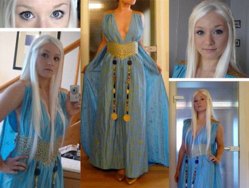 aigue-marine:  Daenerys is finished, but I'm not happy with the result… Somehow I imagined this to look better. Maybe it's about the wig? I will try to add some waves to it later. Besides that I should better paint over my eyebrows… Ohhh, I'm unhappy.  And yet this is flawless, you are far too hard on yourself!