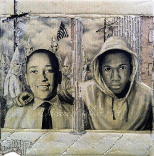 sicanettewrites:  sonofbaldwin:  Emmett Till and Trayvon Martin. By Dareece Jordan Walker https://www.facebook.com/RealDWalker?ref=ts  Wow. The arm around the shoulder is beautiful.