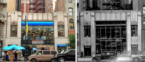 A cool now-and-then pic of a building on W. 72nd Street that used to be an Automat, courtesy of Landmarks West!. A few of their summer interns came to visit Lunch Hour NYC, where we have a restored Automat machine on display, and were inspired to write a very kind blog post. Glad you loved the exhibition!