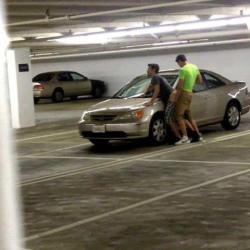 ratchetmess:  was this really necessary just out in the parking garage and all??