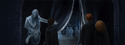 It's tiny, but it's a peek at Harry, Ron and Hermione at Nearly Headless Nick's Deathday party. I really love how Pottermore isn't showing the trio's faces.  The way they are depicted is so perfect. Look at how Ron and Hermione are standing together…I know they are only in Year 2 but asjkfldksdfsdlf;l