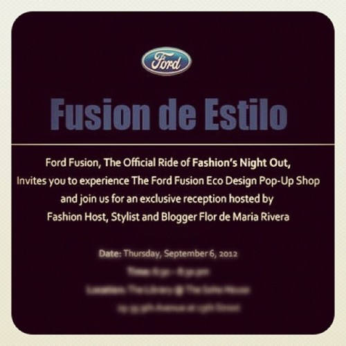 Beyond Excited to host a very exclusive #FNO with @Ford in #NYC And you can be my VIP guest, details on my blog soon #fashion #EstiloFusion (Taken with Instagram)