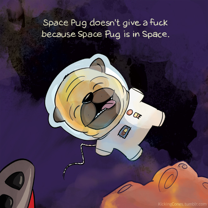 Space Pug encourages us to put our earthly troubles into perspective.