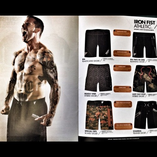 brandanschieppati:  One of my photos in the New #ironfistathletic spring catalog. The new line is sick and will be released in spring 2013 and will be worth the wait. Props to them for getting behind me and #riseabovefitness. #raf #igfit #instagood #inspiration #me #motivation #instagramfitness #fit #fitblr #fitspo #fitness #exercise #gym (Taken with Instagram)  What the hell is this catalog? It's like the Victoria's Secret equivalent for ladies (or whoever else) who love tattooed men who lift. Meow.
