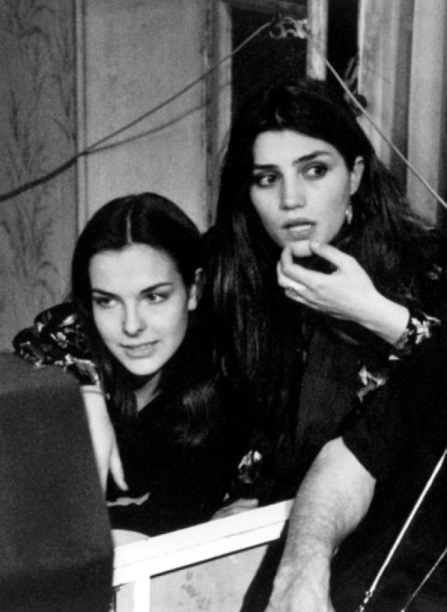 Carole Bouquet & Angela Molina on the set of Cet obscur objet du désir