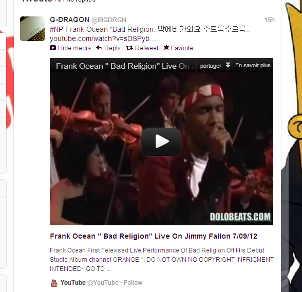 G-dragon Twitter updates 120830  Watch it  @Furinki
