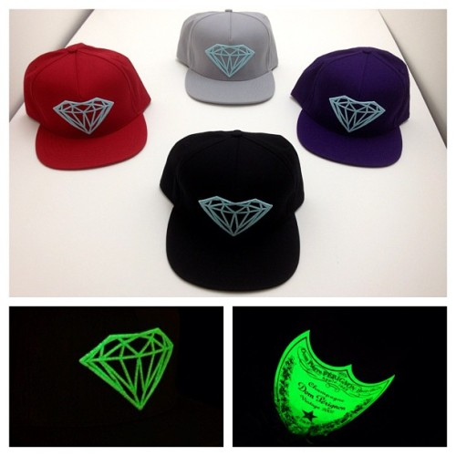 "DIAMOND SUPPLY CO. - ""Glow In The Dark Brilliant"" Snapbacks Limited to 144 pieces by color Now available at Diamond."