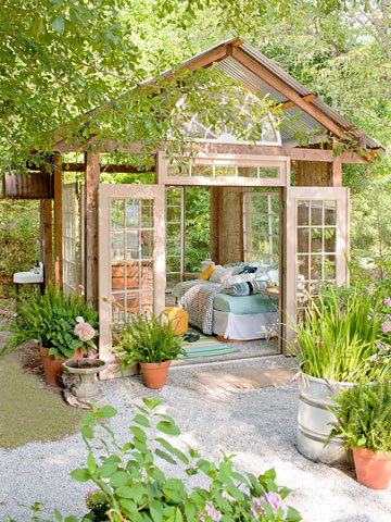 ambedu:  ronbabcock:  Garden Retreat out of old windows and doors. You can download plans here via Better Homes & Garden. And yeah, I subscribe to Better Homes & Garden. How else am I supposed to get my DIY and quiche on?  Oh my gosh. Love this.