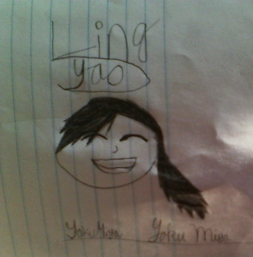 this is a picture i drew today (August 30 2012) in study hall 7th pd. I was bored. I know i screwed up on the pony tail but i (think) i got the bangs right. and i messed up on the eyes a bit too…if u look close anyway but at first glance it is easy to tell that its at least supposed to be Ling from fullmetal alchemist brotherhood. the name and signature underneath is my name and signature…at least as far as u guys need to know anyway :) do not use this (tho i dont know why u would) without permission. i would very much like some pointers on how to make my drawing better…if nothing else someone tell me how to draw a ponytail xD but please be kind. i have never drawn anything before…at least not freehand like this. anything else was always traced or used some kinda tool like rulers or a compass (the math one that helps with circles)