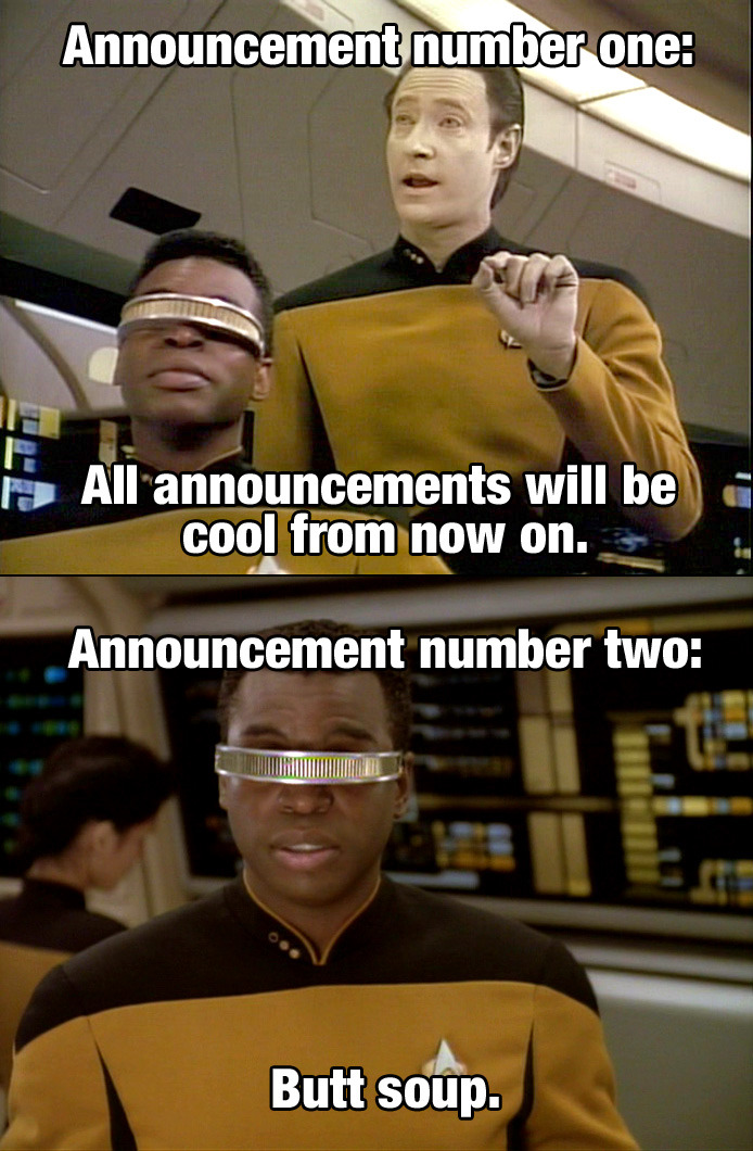 Abed: Announcement number one: All announcements will be cool from now on. Troy: Announcement number two: Butt soup. Football, Feminism and You - 1x06