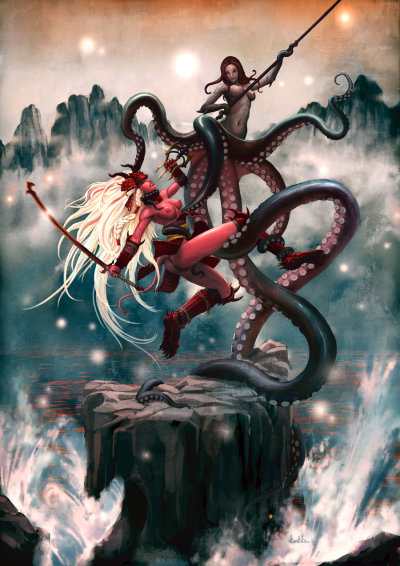 thegeek531:  Octopussy vs. Samurai Sugar by *kunkka  o..o what…what am I seeing … it makes me not has cans…
