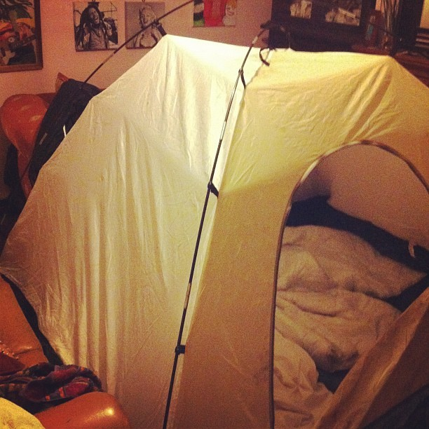 Hot boxing a tent tonight hahaha (Taken with Instagram)