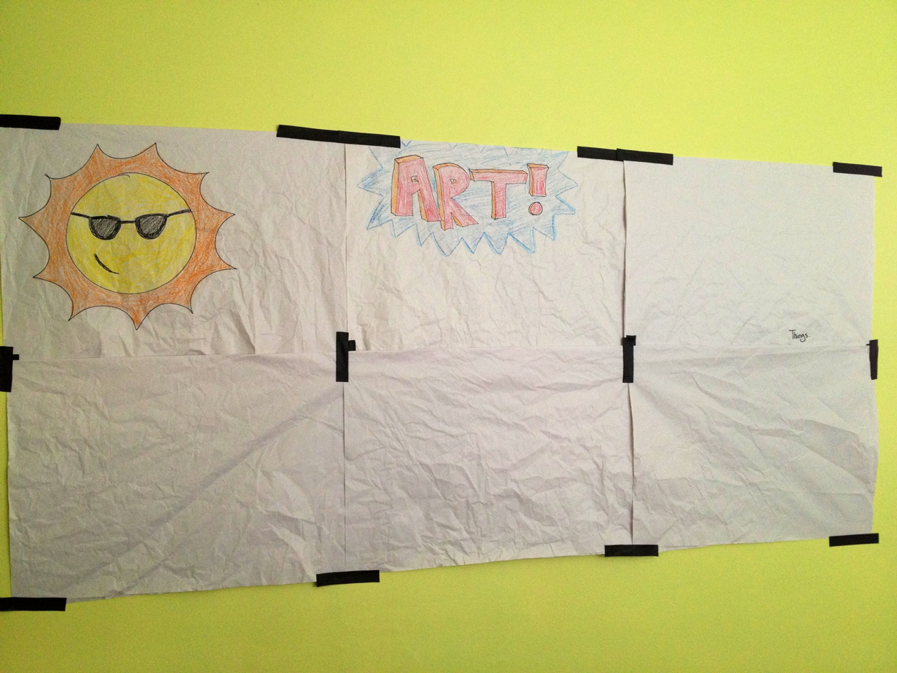 loorabean:  a-dreamer-awake:  Today Alanna and Laura stick paper to the wall.  Not even 5 minutes in the door and we're drawing on the walls! =P
