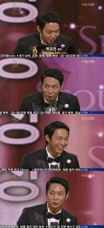 "Recently, JYJ's Yoochun was awarded the 'Outstanding Hallyu Drama Male Actor Award' at KBS's '2012 Seoul Drama Awards' for his performance on SBS drama 'Rooftop Prince'. Yoochun saddened viewers when he stated with a hint of tears in his eyes, ""I am glad to have received an award for such a great drama. I want to dedicate this award to my father, who was not able to watch"". Yoochun's father passed away shortly before filming commenced. Yoochun was also awarded the 'Netizen Popularity Award'."