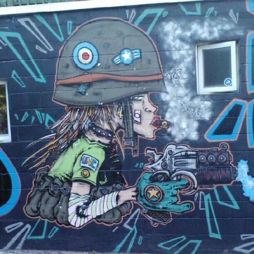 #Tank #Girl #mural, #Rue #Napoleon and #StDominique, #Montreal #Quebec #Canada. #street #art #streetart #graffiti #painting #paint #comics #instamood #instahub #instagramhub #webstagram  (Taken with Instagram)